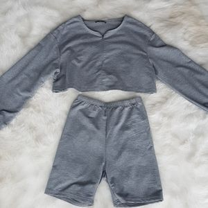 Grey crop sweater lounger